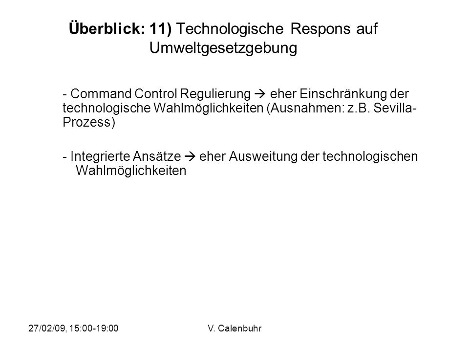 Überblick: 11) Technologische Respons auf Umweltgesetzgebung