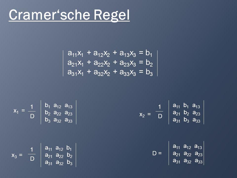 Cramer'sche Regel a11x1 + a12x2 + a13x3 = b1