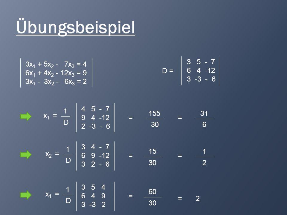 Übungsbeispiel 3 5 - 7 6 4 -12 3 -3 - 6 3x1 + 5x2 - 7x3 = 4