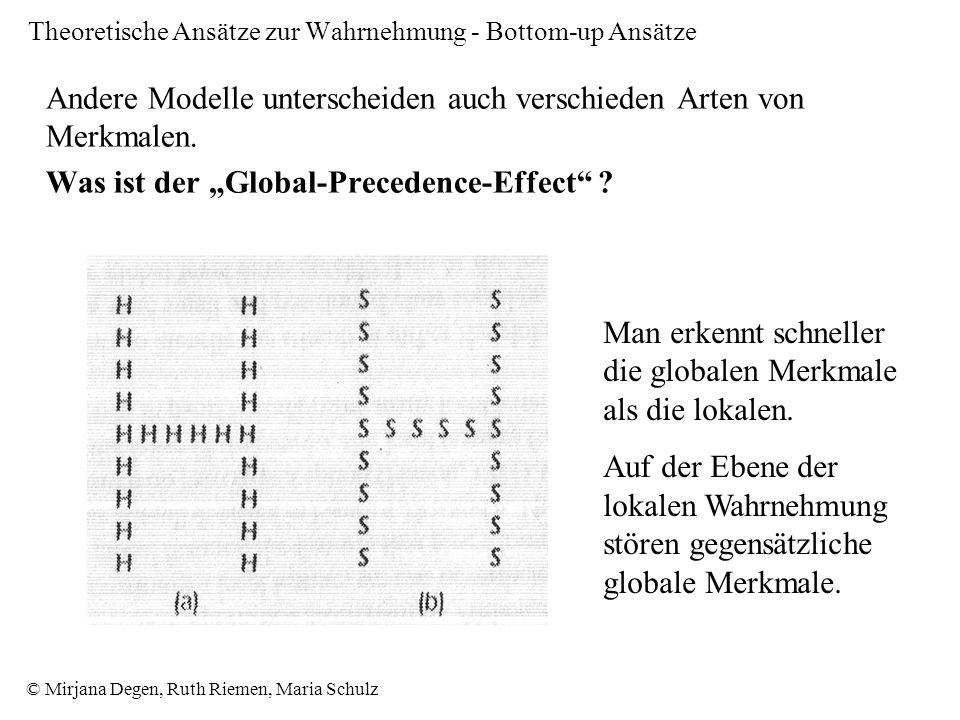 Theoretische Ansätze zur Wahrnehmung - Bottom-up Ansätze