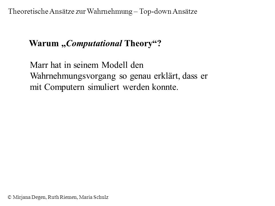"Warum ""Computational Theory"