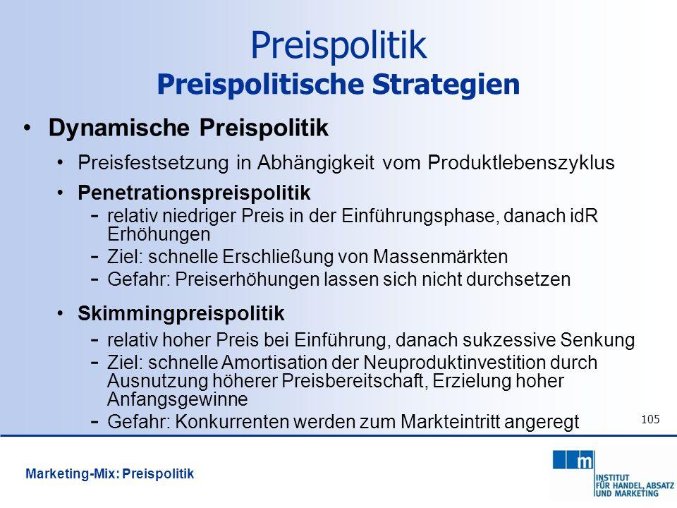 Preispolitik Preispolitische Strategien