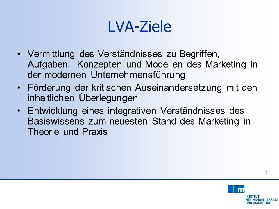 LVA-Ziele Vermittlung des Verständnisses zu Begriffen, Aufgaben, Konzepten und Modellen des Marketing in der modernen Unternehmensführung.