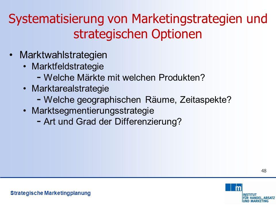Systematisierung von Marketingstrategien und strategischen Optionen