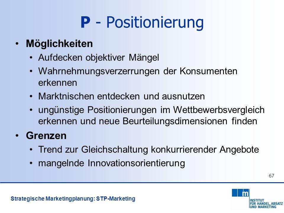 P - Positionierung Möglichkeiten Grenzen Aufdecken objektiver Mängel