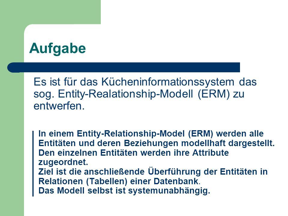 Aufgabe Es ist für das Kücheninformationssystem das sog. Entity-Realationship-Modell (ERM) zu entwerfen.