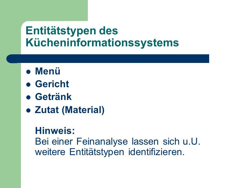 Entitätstypen des Kücheninformationssystems