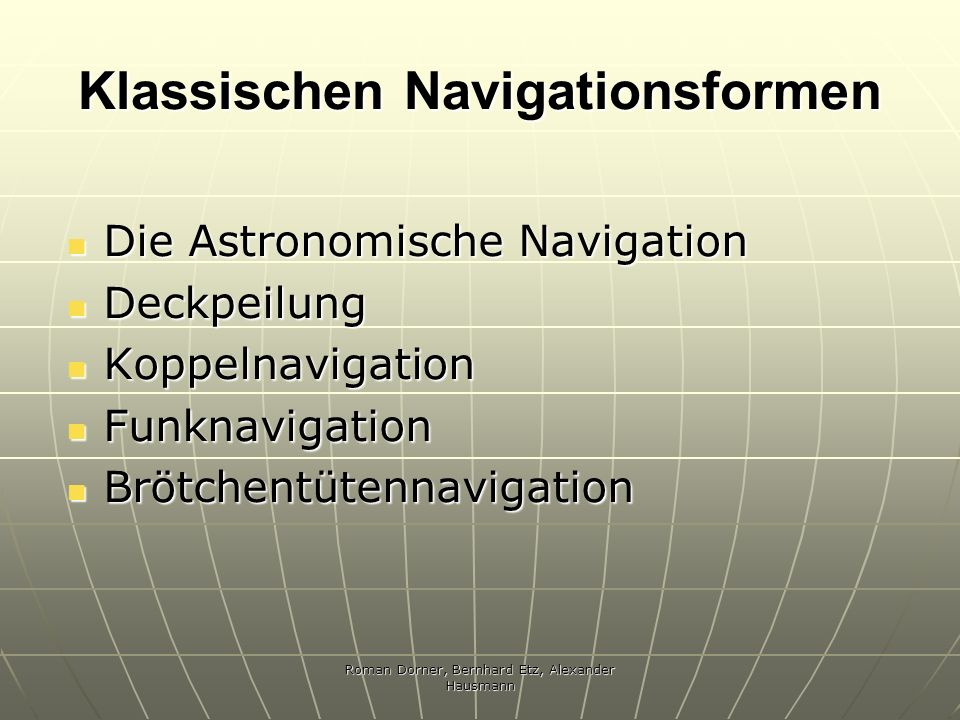 Klassischen Navigationsformen