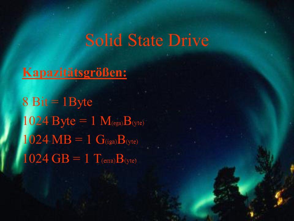 Solid State Drive Kapazitätsgrößen: 8 Bit = 1Byte