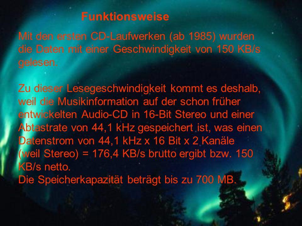 Funktionsweise Mit den ersten CD-Laufwerken (ab 1985) wurden die Daten mit einer Geschwindigkeit von 150 KB/s gelesen.