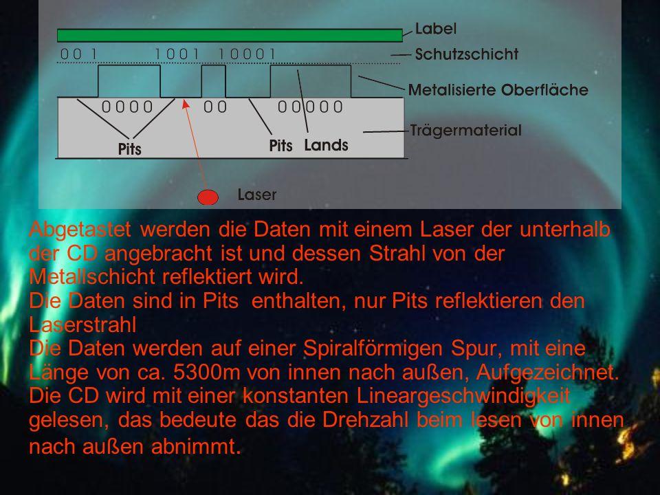 Abgetastet werden die Daten mit einem Laser der unterhalb der CD angebracht ist und dessen Strahl von der Metallschicht reflektiert wird.