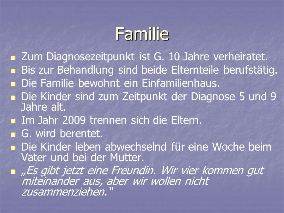 Familie Zum Diagnosezeitpunkt ist G. 10 Jahre verheiratet.
