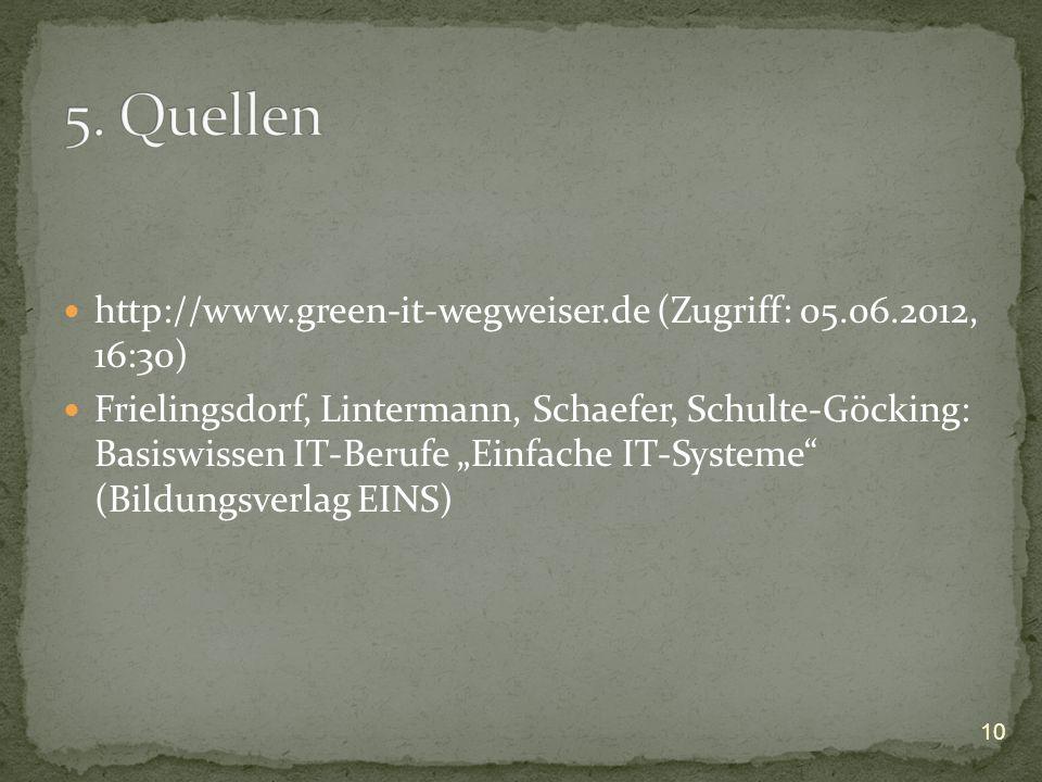 5. Quellen http://www.green-it-wegweiser.de (Zugriff: 05.06.2012, 16:30)