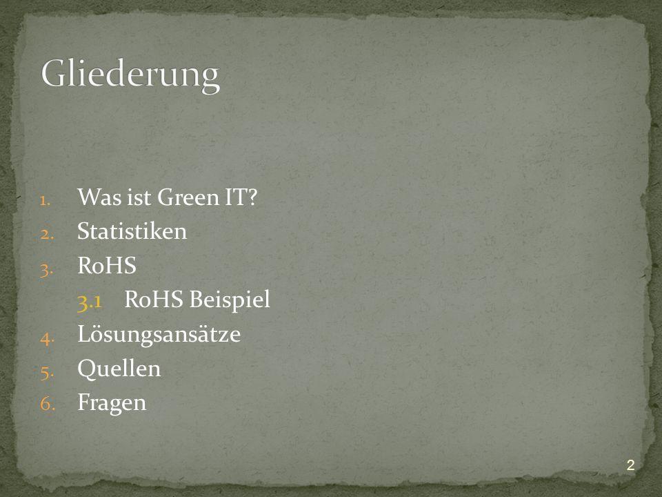 Gliederung Was ist Green IT Statistiken RoHS 3.1 RoHS Beispiel