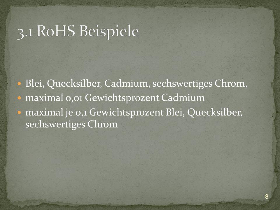 3.1 RoHS Beispiele Blei, Quecksilber, Cadmium, sechswertiges Chrom,