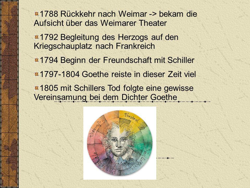 1788 Rückkehr nach Weimar -> bekam die Aufsicht über das Weimarer Theater