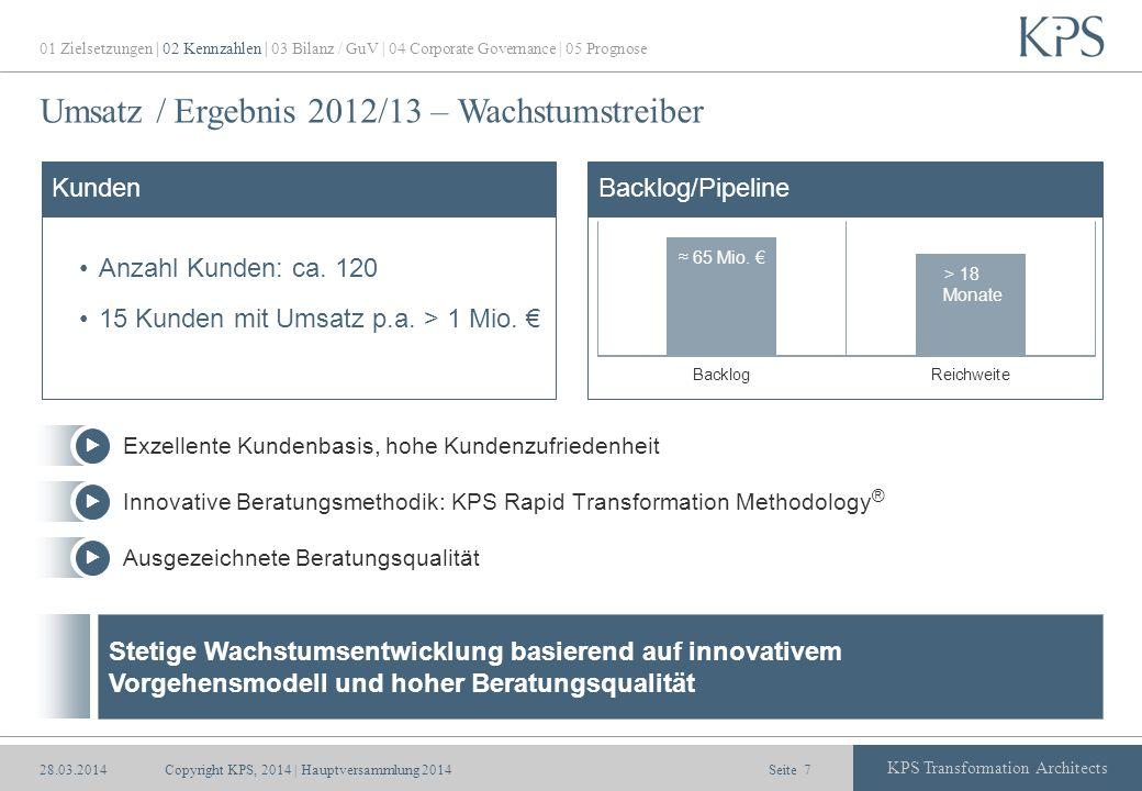 Umsatz / Ergebnis 2012/13 – Wachstumstreiber