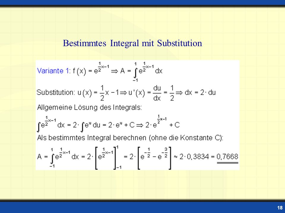 Bestimmtes Integral mit Substitution
