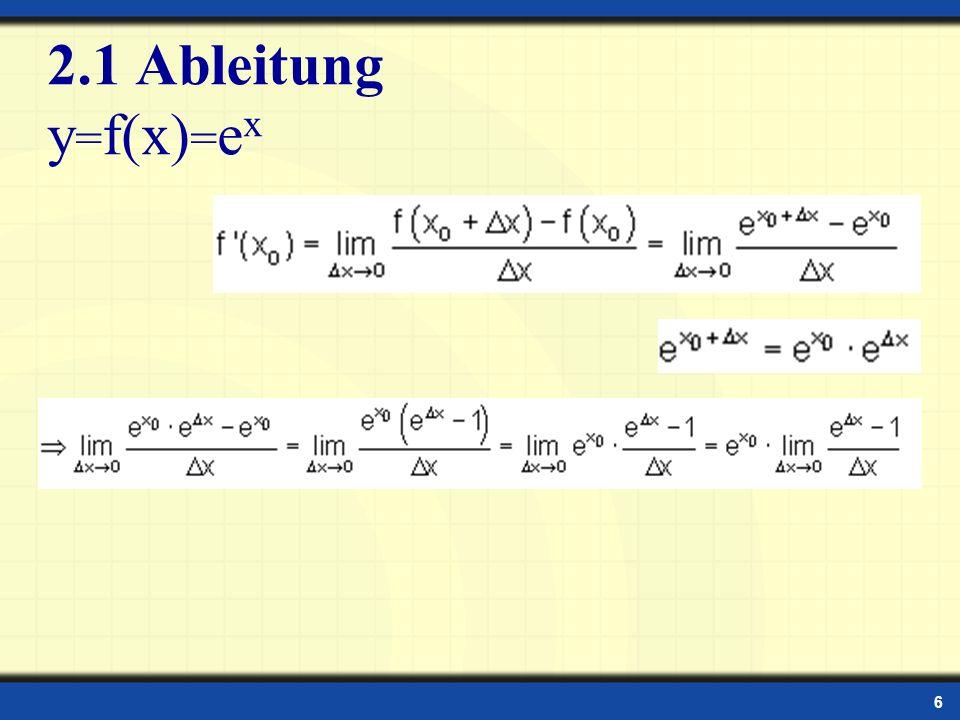 2.1 Ableitung y=f(x)=ex