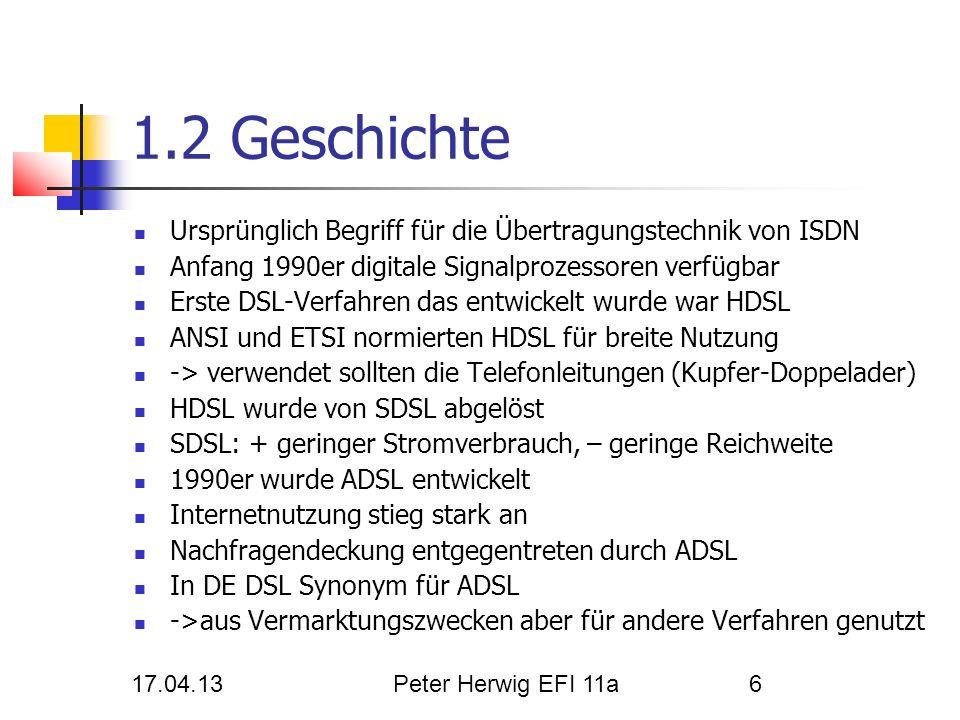Herwig Peter 17.04.13. 1.2 Geschichte. Ursprünglich Begriff für die Übertragungstechnik von ISDN.