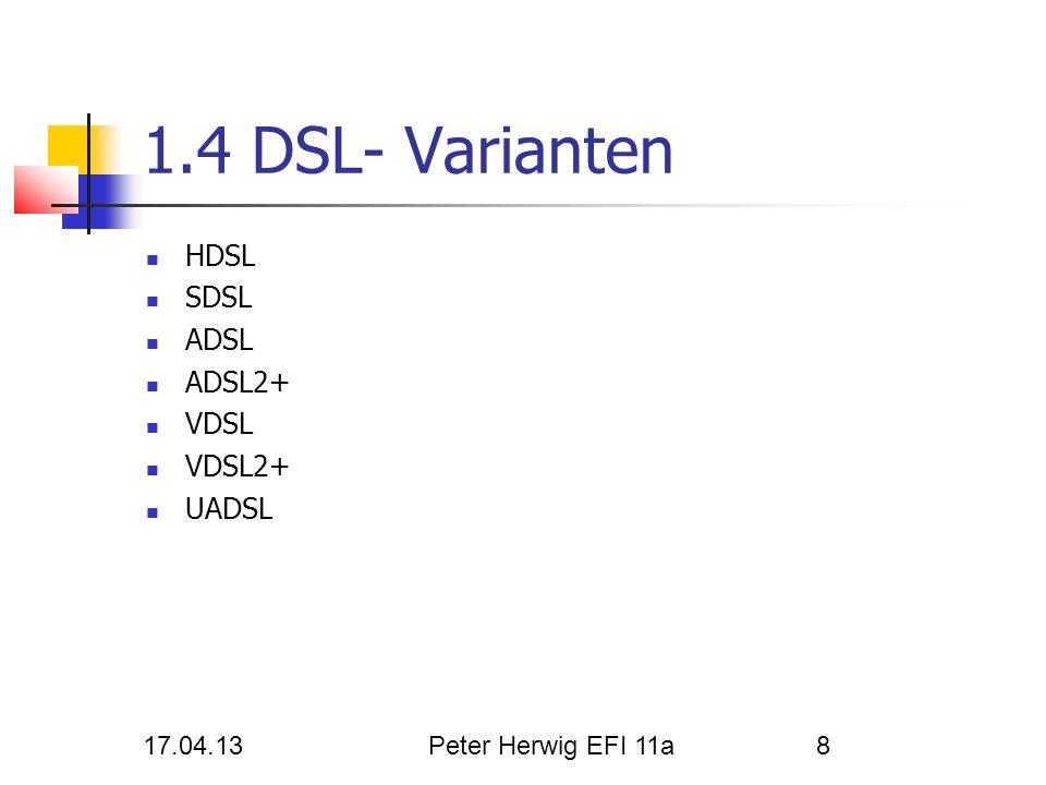 1.4 DSL- Varianten HDSL SDSL ADSL ADSL2+ VDSL VDSL2+ UADSL 17.04.13