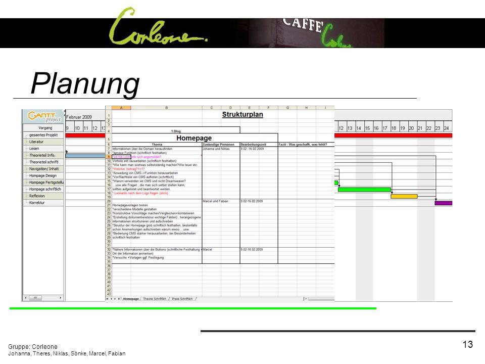 Planung Unternehmensauswahl Projektgliederung und Aufgabenverteilung