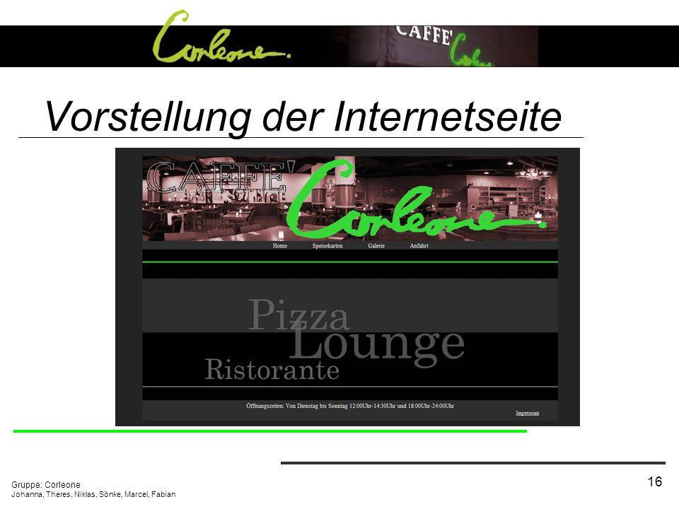 Vorstellung der Internetseite