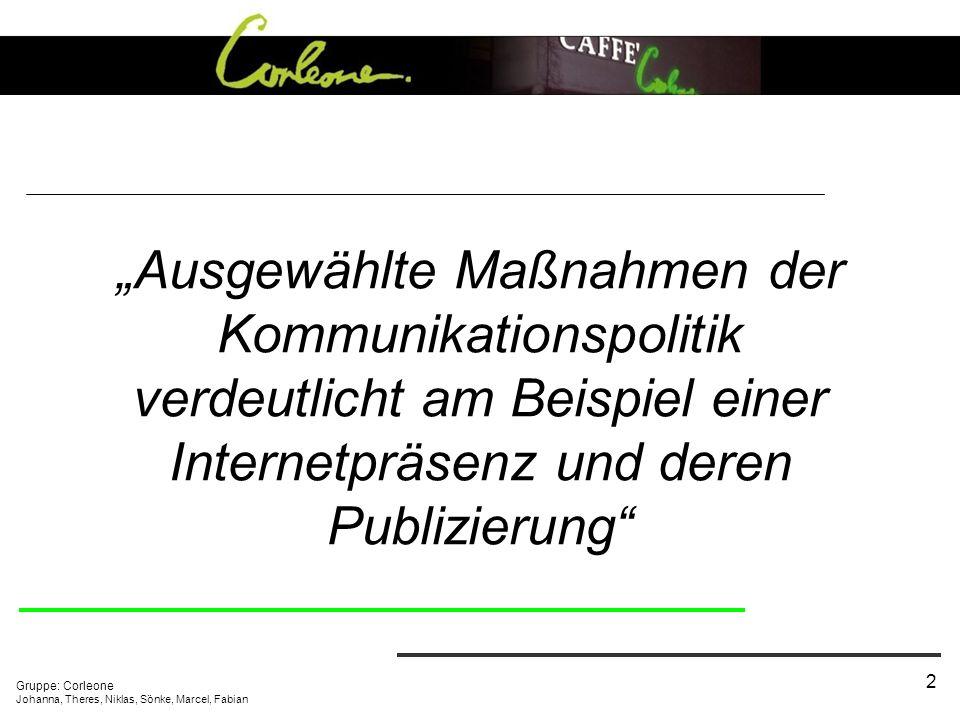 """""""Ausgewählte Maßnahmen der Kommunikationspolitik verdeutlicht am Beispiel einer Internetpräsenz und deren Publizierung"""