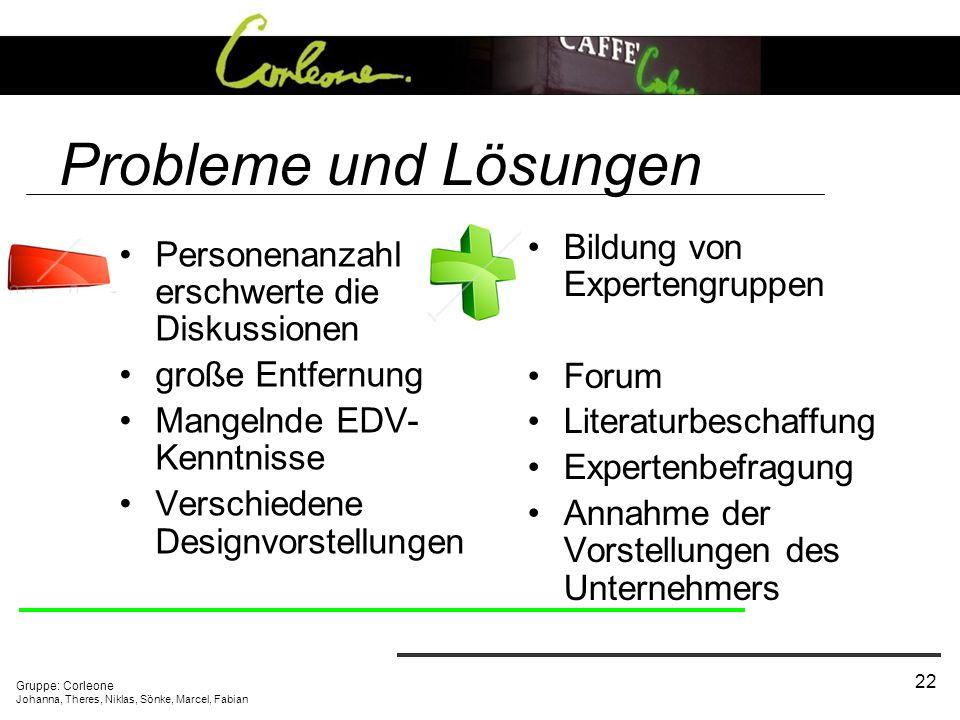 Probleme und Lösungen Bildung von Expertengruppen