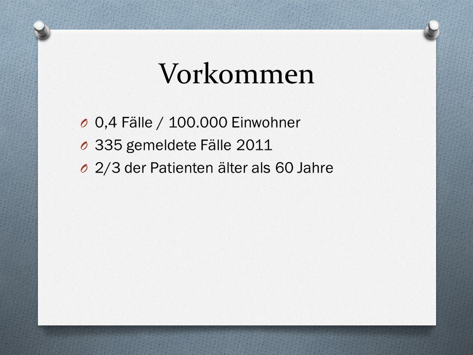 Vorkommen 0,4 Fälle / 100.000 Einwohner 335 gemeldete Fälle 2011