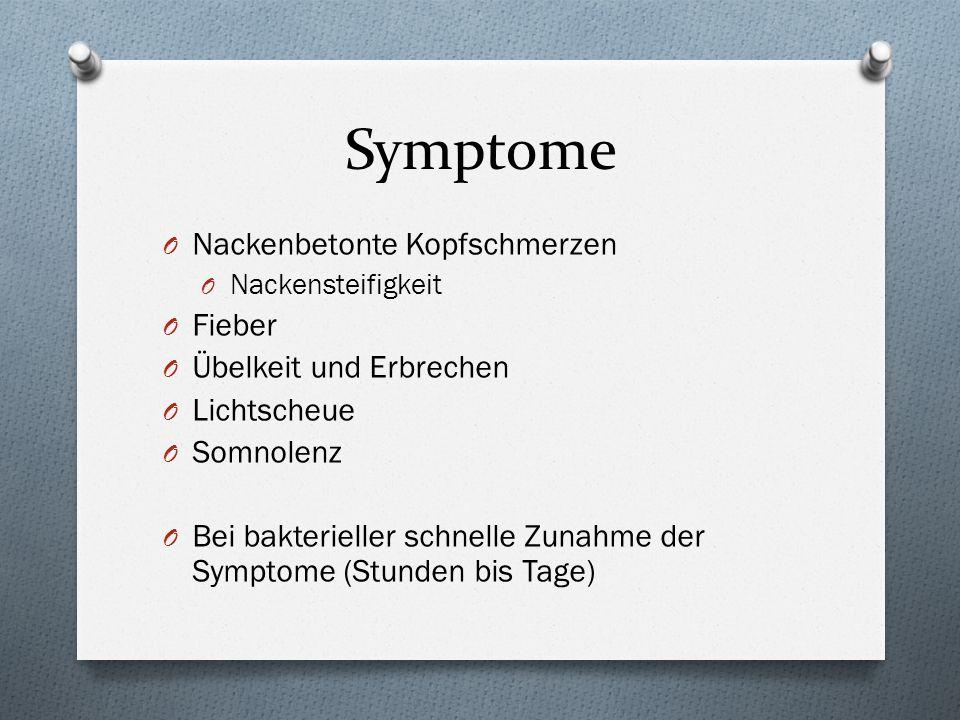 Symptome Nackenbetonte Kopfschmerzen Fieber Übelkeit und Erbrechen