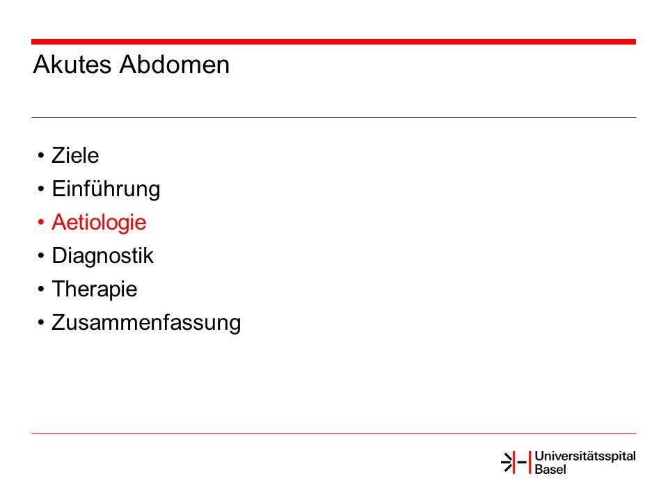 Akutes Abdomen Ziele Einführung Aetiologie Diagnostik Therapie