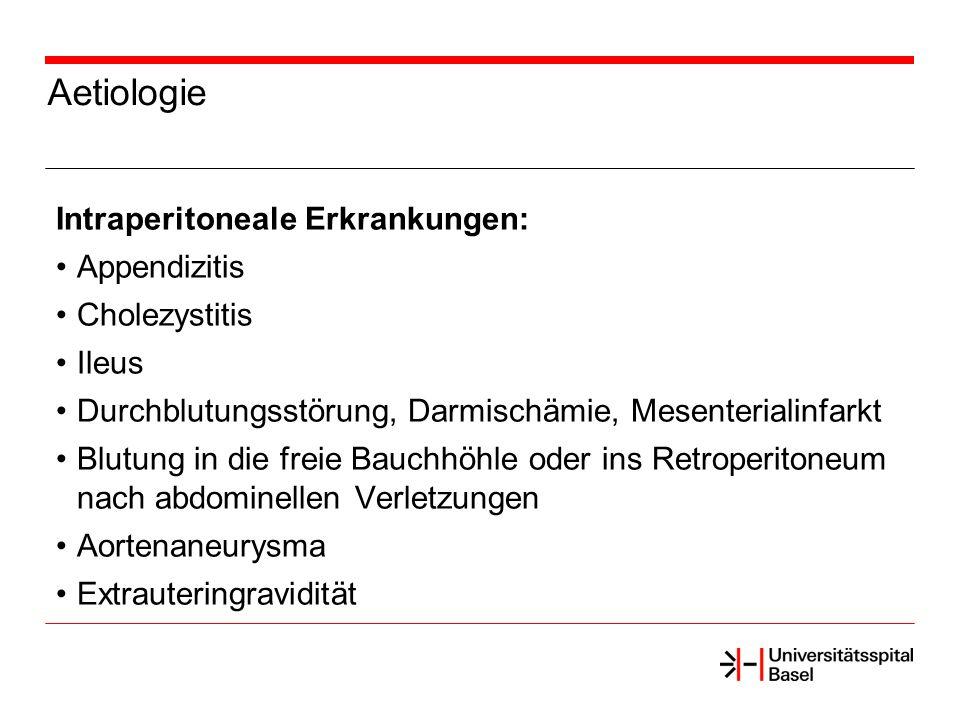Aetiologie Intraperitoneale Erkrankungen: Appendizitis Cholezystitis