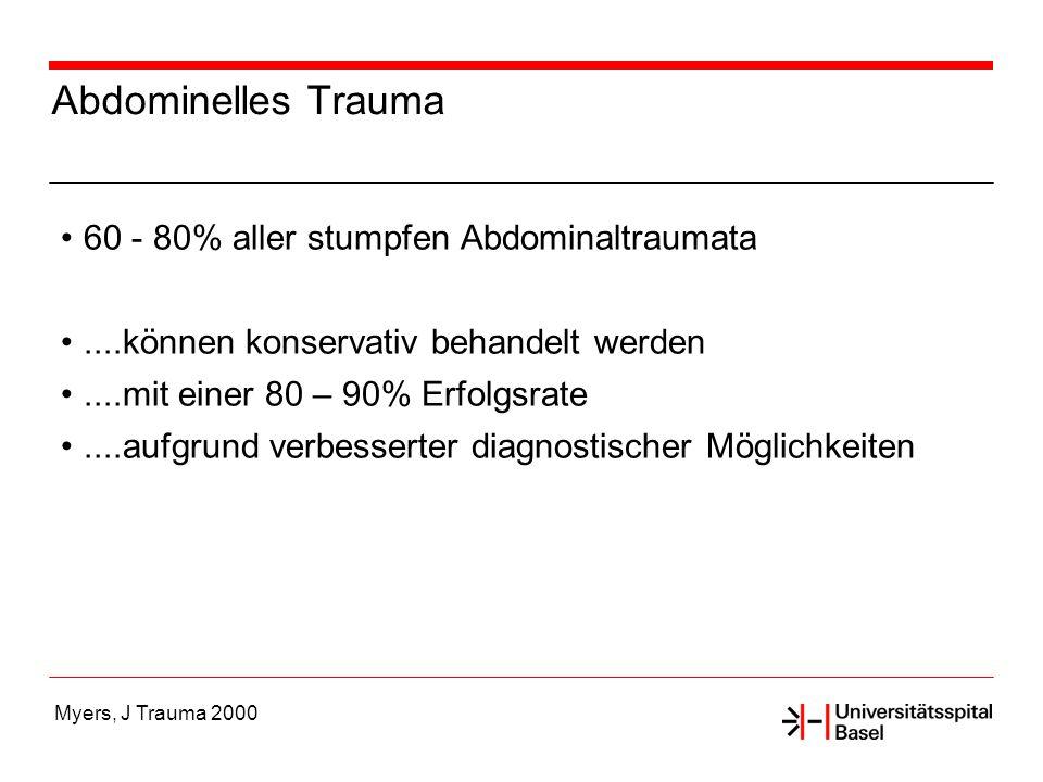 Abdominelles Trauma 60 - 80% aller stumpfen Abdominaltraumata