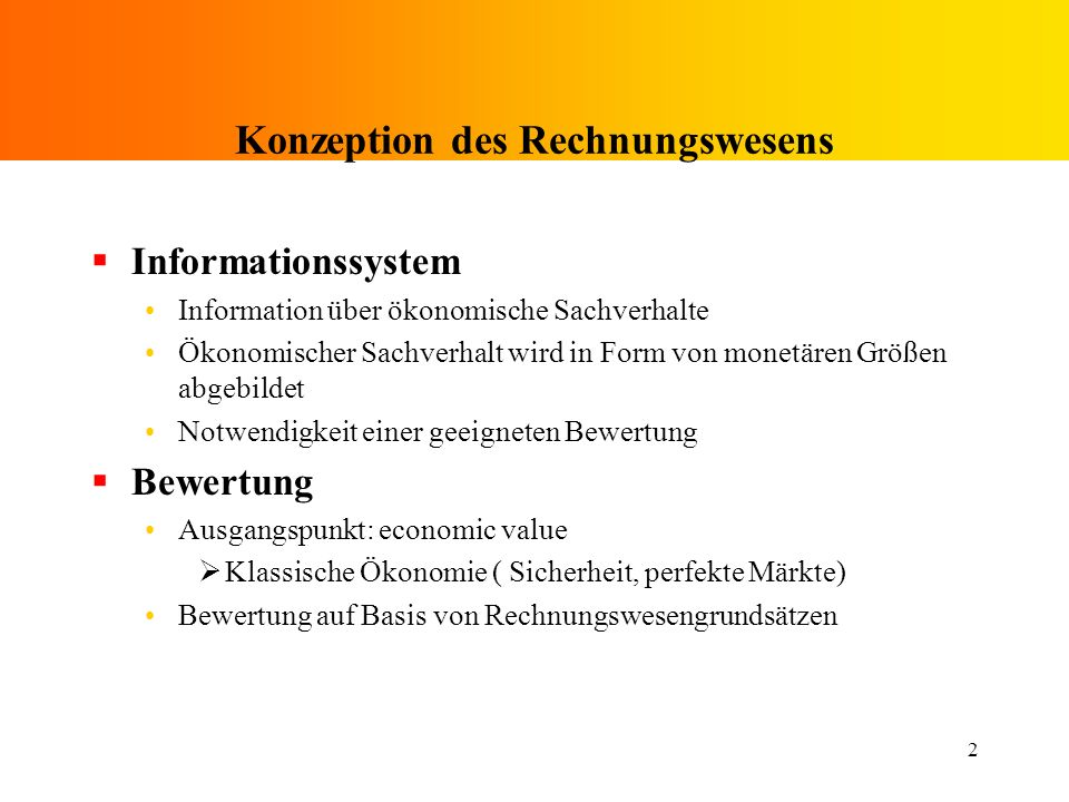 Konzeption des Rechnungswesens