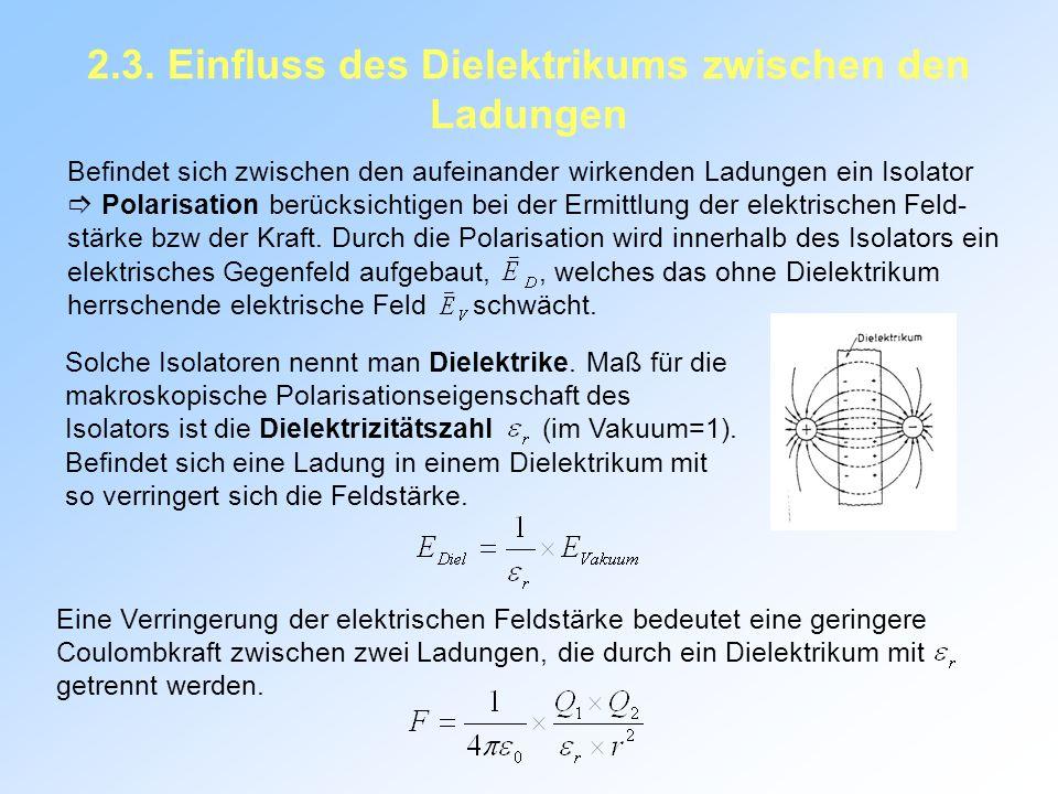 2.3. Einfluss des Dielektrikums zwischen den Ladungen