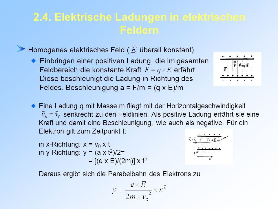 2.4. Elektrische Ladungen in elektrischen Feldern