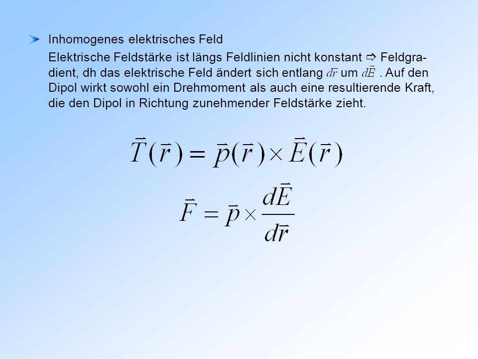 Inhomogenes elektrisches Feld Elektrische Feldstärke ist längs Feldlinien nicht konstant  Feldgra- dient, dh das elektrische Feld ändert sich entlang um .
