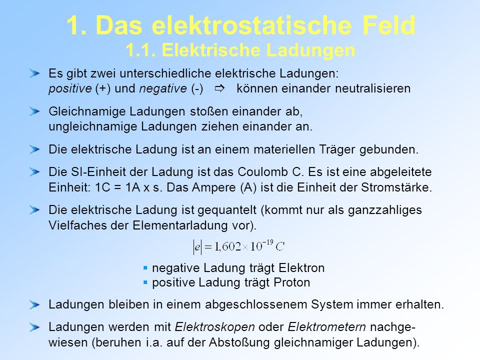 1. Das elektrostatische Feld 1.1. Elektrische Ladungen