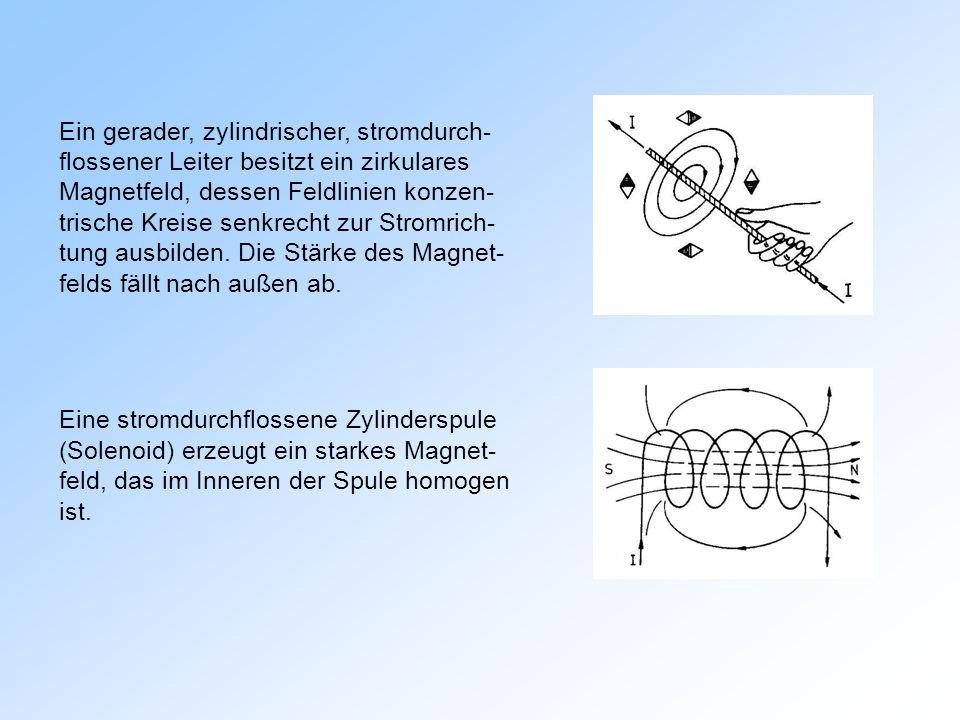 Ein gerader, zylindrischer, stromdurch- flossener Leiter besitzt ein zirkulares Magnetfeld, dessen Feldlinien konzen- trische Kreise senkrecht zur Stromrich- tung ausbilden. Die Stärke des Magnet- felds fällt nach außen ab.