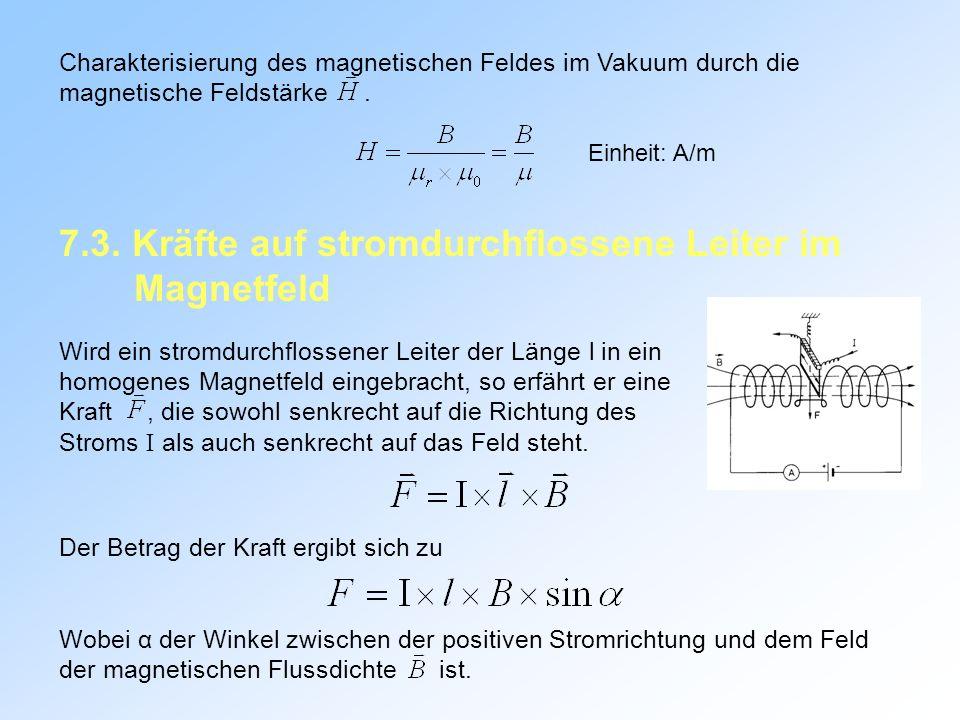 7.3. Kräfte auf stromdurchflossene Leiter im Magnetfeld
