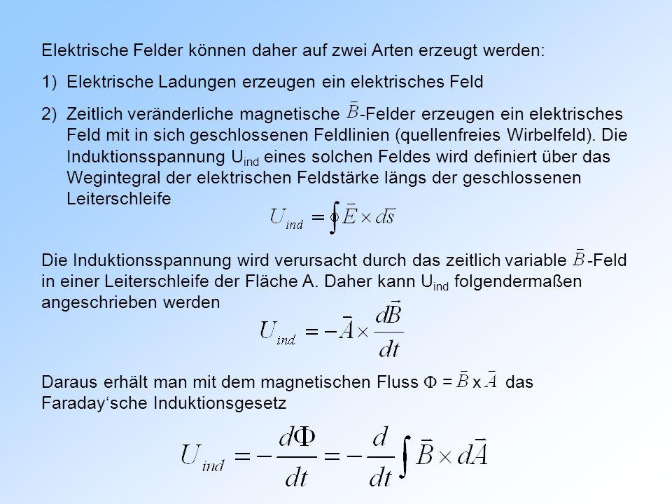 Elektrische Felder können daher auf zwei Arten erzeugt werden: