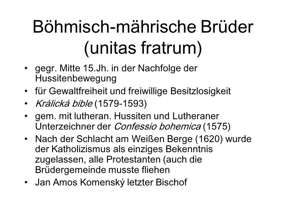 Böhmisch-mährische Brüder (unitas fratrum)