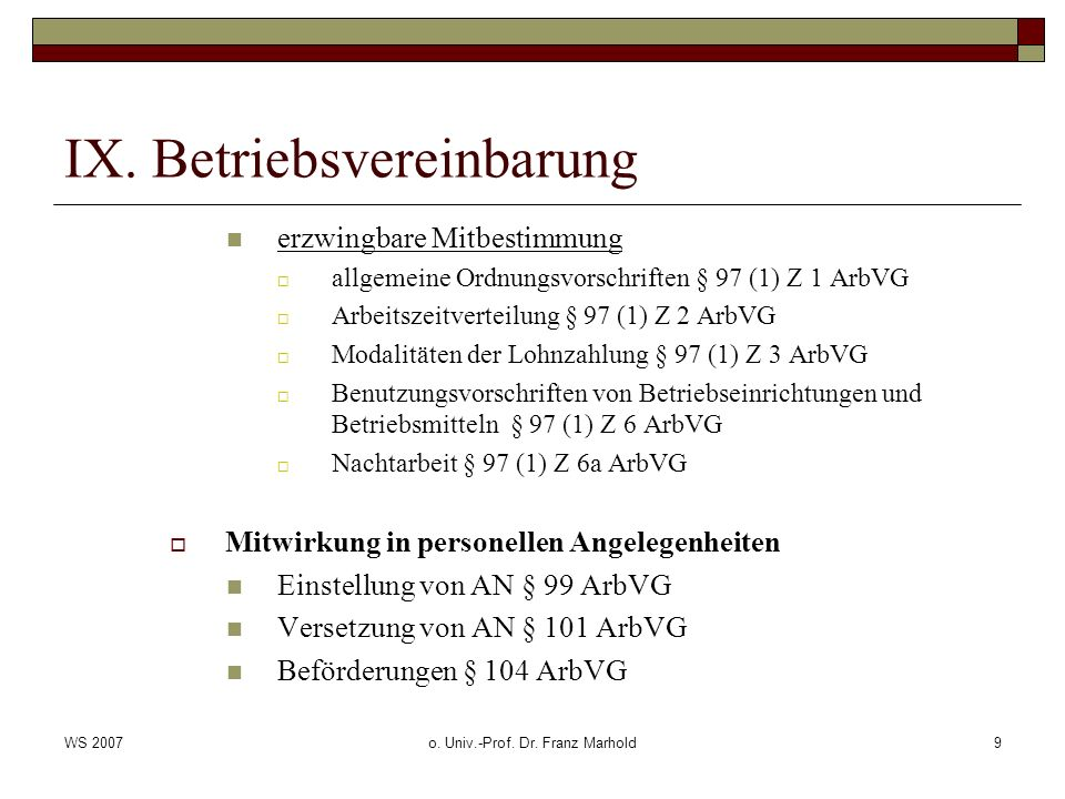 IX. Betriebsvereinbarung
