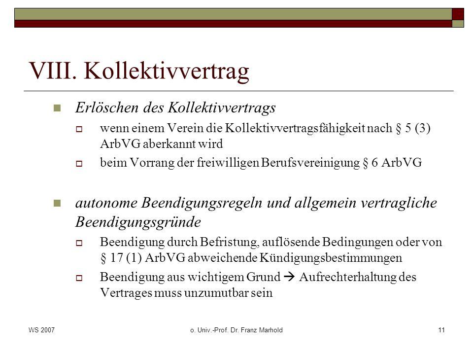 VIII. Kollektivvertrag