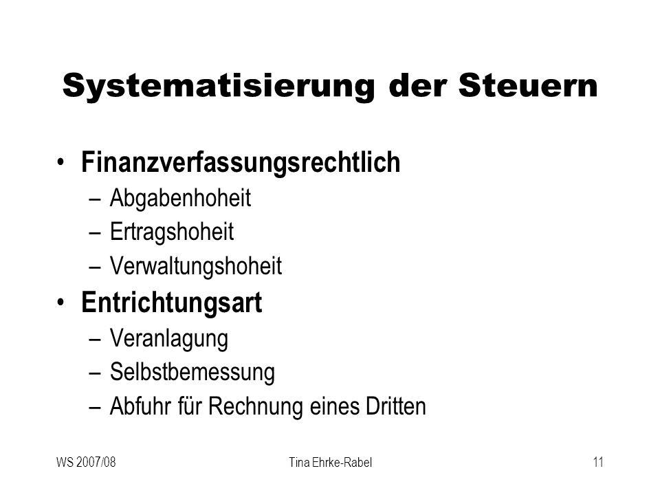 Systematisierung der Steuern
