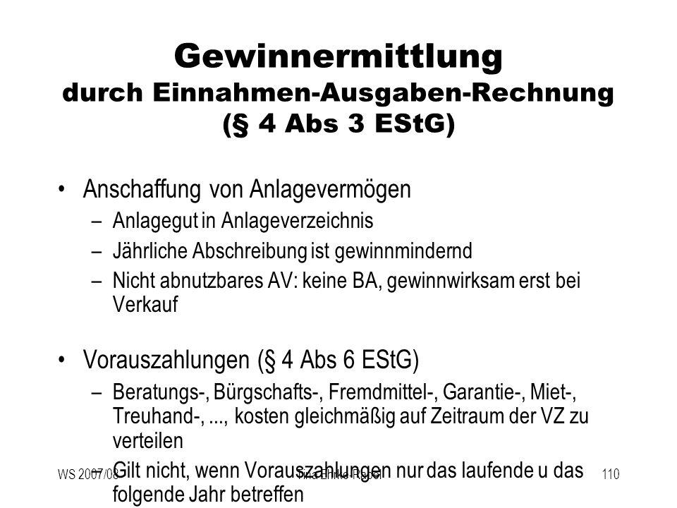 Gewinnermittlung durch Einnahmen-Ausgaben-Rechnung (§ 4 Abs 3 EStG)