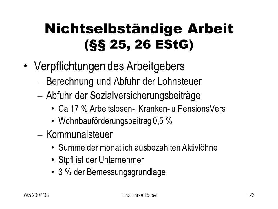 Nichtselbständige Arbeit (§§ 25, 26 EStG)