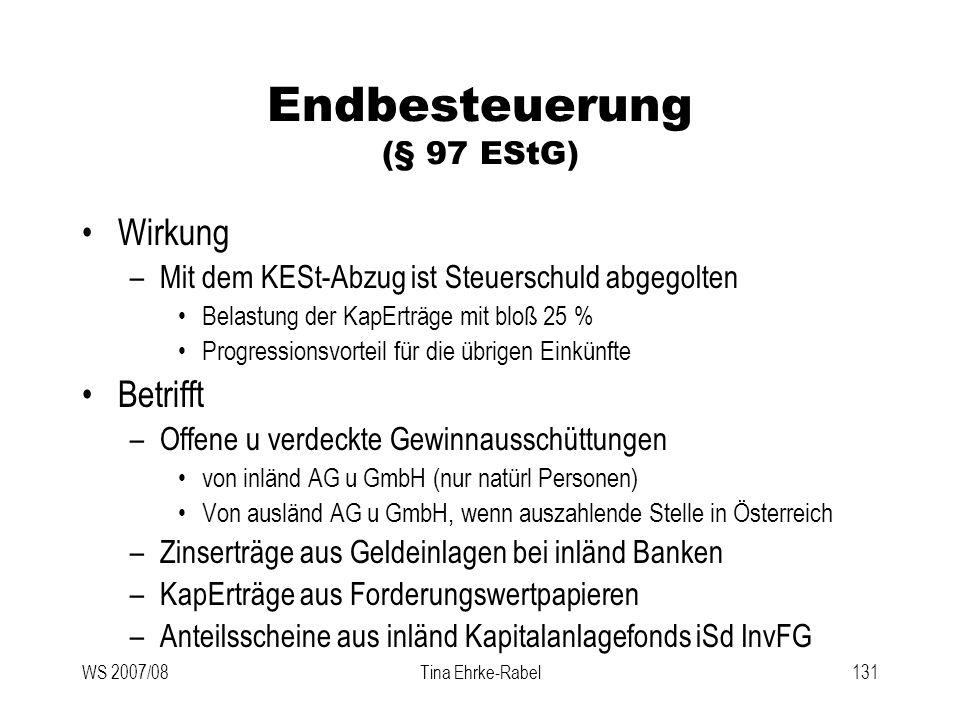 Endbesteuerung (§ 97 EStG)