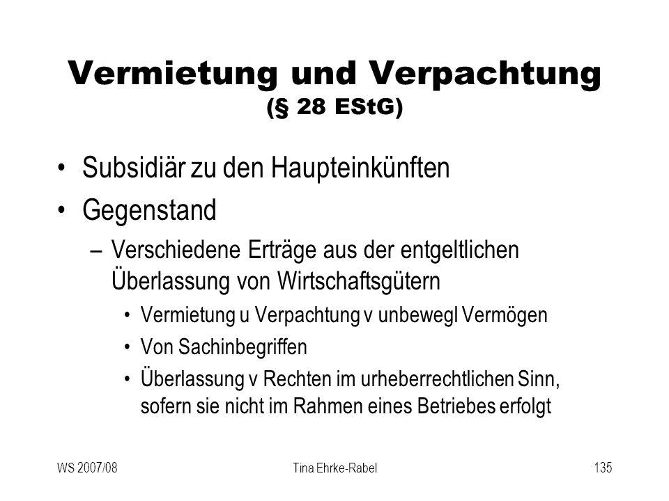Vermietung und Verpachtung (§ 28 EStG)